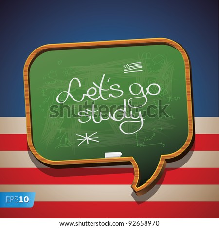 """Let's go study English"" chalk-written on a blackboard. - stock vector"
