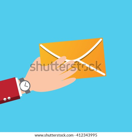 letter with counter notification, postman hand, concept of incoming email message, mail delivery service, newsletter announcement flat modern vector illustration design isolated - stock vector
