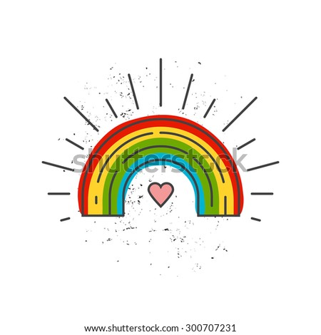 LGBT symbol - heart with rainbow inside. Gay pride and gay marriage vector concept. Same sex love illustration. 