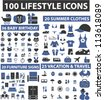 100 lifestyle icons set, vector - stock vector
