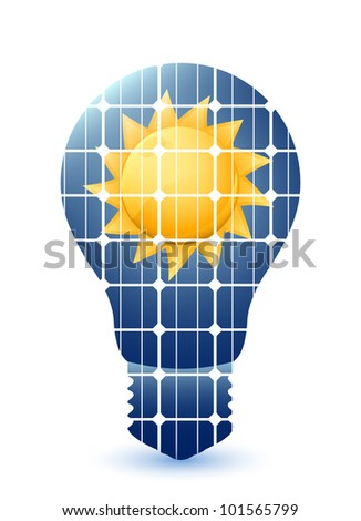 Light bulb with solar panels texture and sun. Vector - stock vector