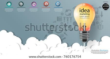 Light bulbs orange text idea marketing stock vector