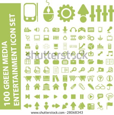 100 light green media entertainment icon set - stock vector