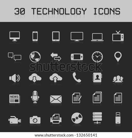 30 Light technology icons vector illustration - stock vector