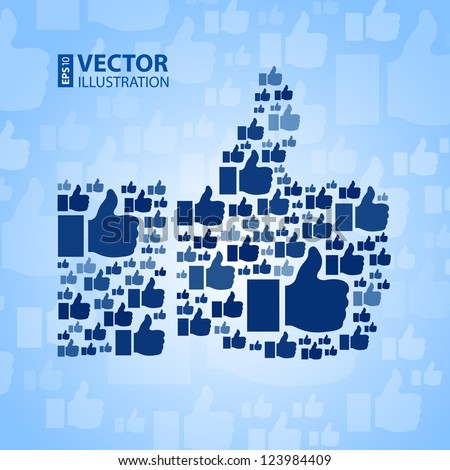 """Like"" symbol on light blue background. RGB EPS 10 vector illustration - stock vector"