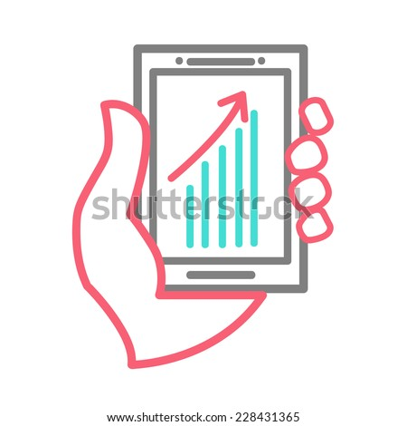 line design concept of hand holing smart phone with increasing bar chart on the screen. Using smartphone for business. Eps 10 vector. - stock vector