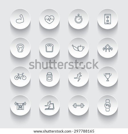 16 line fitness, gym, training icons on round 3d shapes, vector illustration, eps10, easy to edit - stock vector