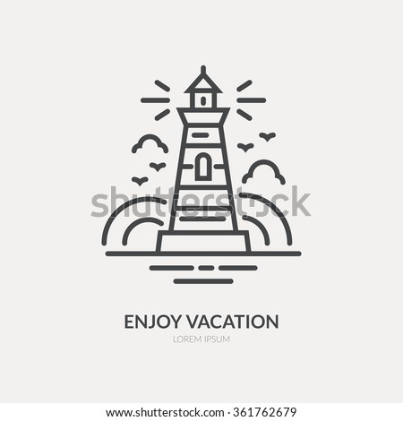 Line style logotype template with lighthouse. Isolated on background and easy to use.  Lighthouse on horizon. Clean and minimalistic symbol. Travel concept. - stock vector