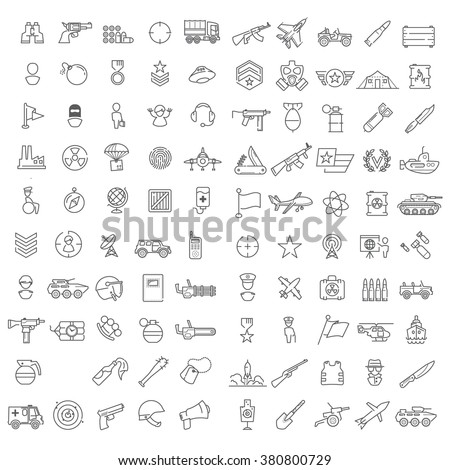 100 linear icons for military, war, and armed conflicts infographics also good for mobile game UX/UI - stock vector