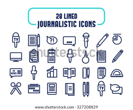 28 lined icons set. Journalistic icons. isolated objects on the white background. Vector Illustration, eps10, contains transparencies. - stock vector