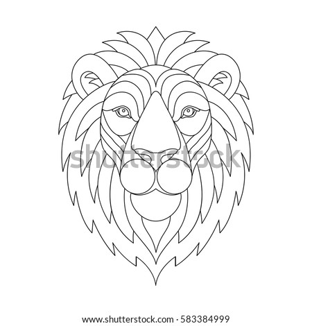 lion head with mane lion portrait graphic illustration sketch for adult anti stress