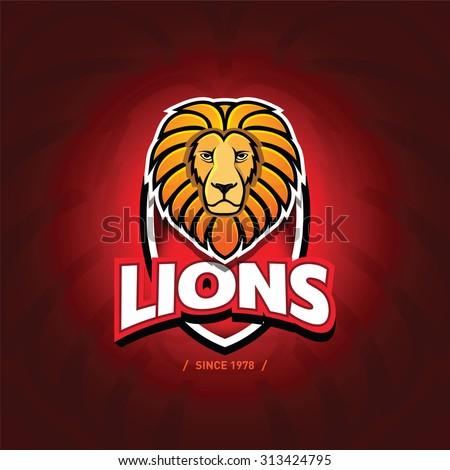 'Lions' sport team logo template. Lion head on the shield. T-shirt graphic, badge, emblem, sticker. Vector illustration. - stock vector