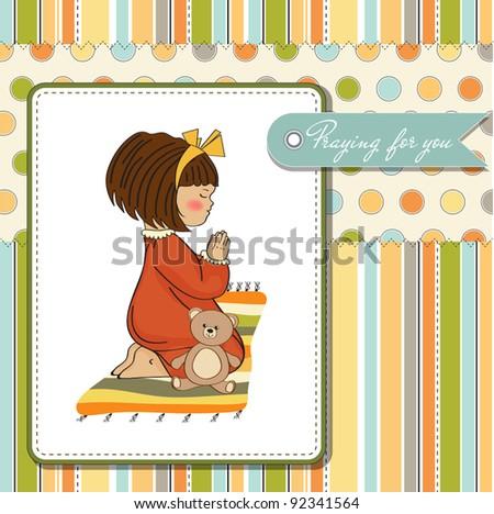 little girl praying - stock vector