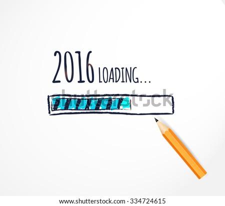 2016 loading. Hand drawn progress bar design. Funny Happy New Year Vector illustration - stock vector