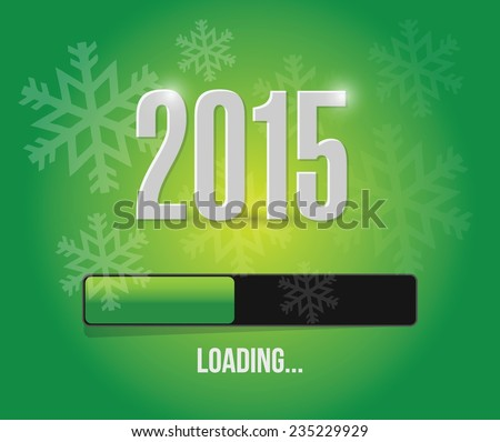 2015 loading year bar illustration design over a green background - stock vector