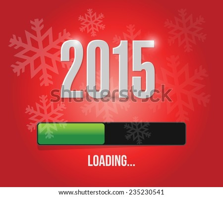 2015 loading year bar illustration design over a red background - stock vector