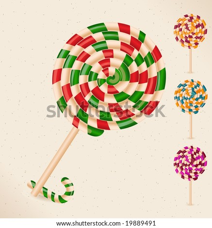 4 lollipops and a candy cane - objects- vector - stock vector