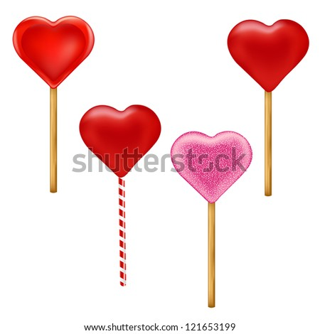 4 Lollypops Form Of Hearts With Gradient Mesh, Vector Illustration - stock vector