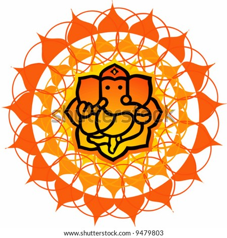 Lord Ganesh in floral background  - stock vector