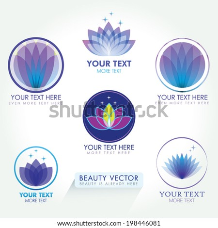 Lotus Icon set. Good for Beauty Industry, Beauty Salon, Med Spa, Alternative Medicine, Spa, Beauty, Spa Boutique, Yoga Club, Massage and Recreation, Shiatsu, Natural Healing, Acupuncture, Naturopathy - stock vector