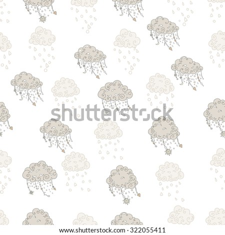 ?louds with pendants and ornaments, seamless vector pattern - stock vector