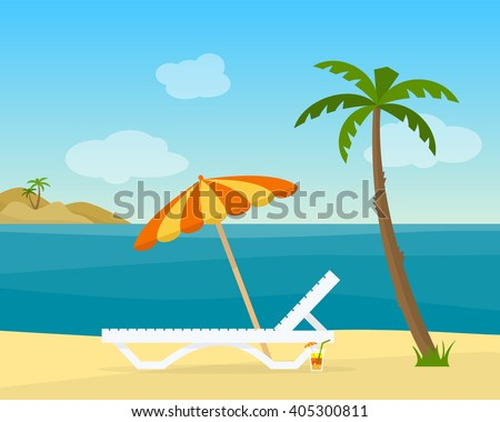 Lounge on the beach under a palm tree. Beach chair with sea on tropical background. Flat style vector illustration. - stock vector