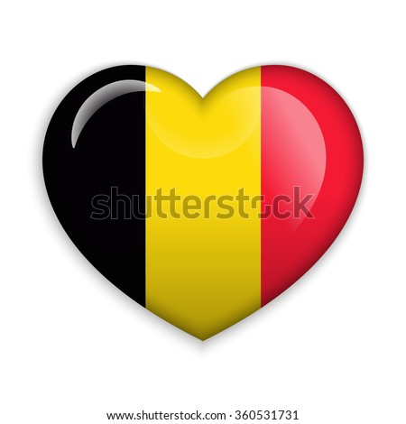 Love Belgium.  Flag Heart Glossy Button - stock vector