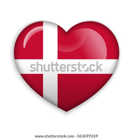 Love Denmark.  Flag Heart Glossy Button - stock vector