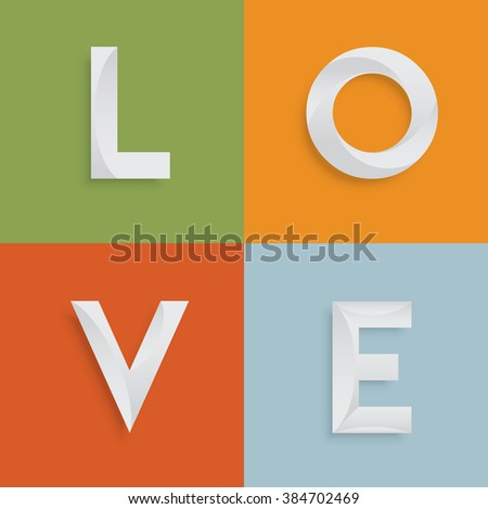 'LOVE' four-letter-word for websites, illustration, vector - stock vector