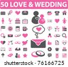 50 love & wedding icons, signs, vector illustrations - stock vector