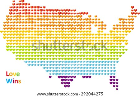 'Love Wins' stylized map of the United States made of hearts. The colors are taken from the hearts of the Rainbow or Pride flag. It could be used for posters, cards, shirts etc