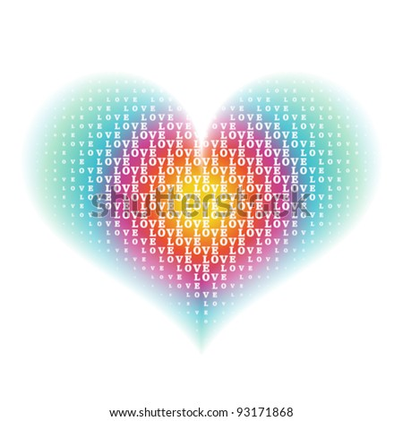 """love"" word characters on gradient rainbow heart shape background"
