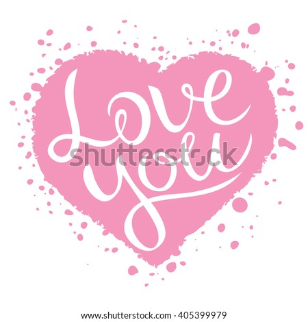 Love you lettering on pink heart shape, Love confession vector illustration, Love you message, Love you card. Love you lettering design, pink  and white. - stock vector