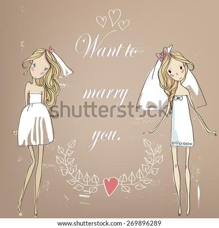 stock vector  lovely bride vector postcard 269896289