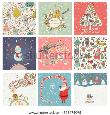 9 lovely Christmas and New Year cards in vector. Sweet holiday backgrounds with fir tree, Snowman, Santa, gifts, snow, owls and other symbols. Great winter holidays collection in cartoon style - stock vector