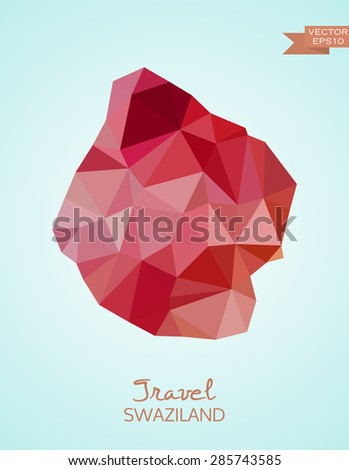 Low Poly map of Swaziland isolated on background. Vector version  - stock vector