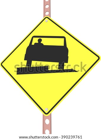 """""""Low shoulder"""" - 3d illustration of yellow roadsign isolated on white background - stock vector"""