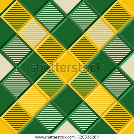 Lumberjack Tartan Seamless Pattern in Green, Yellow, and  Beige. Trendy Vector Illustration for Wallpapers. Seamless Tartan Tiles. Traditional Scottish Ornament. Tartan Plaid Inspired Background.