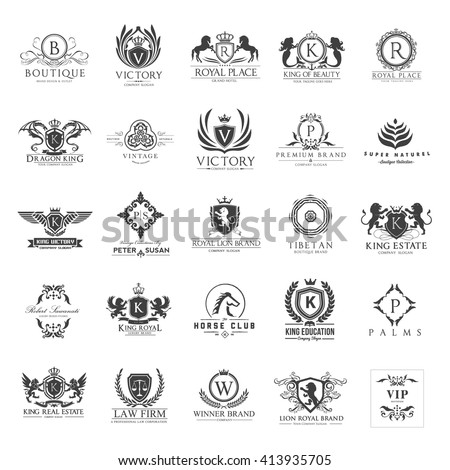 Luxury Logos set. Business sign, Restaurant, Royalty, Boutique, Hotel, Heraldic, hotel ,crest logo set, animal logo,boutique identity, Fashion,logo collection, logo set, full vector logo template - stock vector