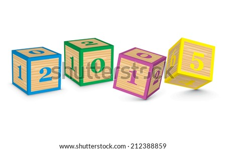 2015 made from toy blocks - vector illustration - stock vector