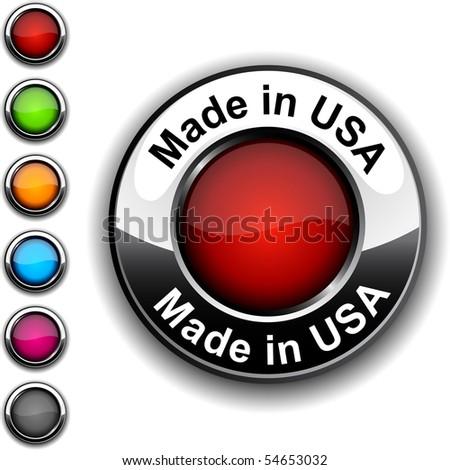 Made in USA realistic button. Vector. - stock vector
