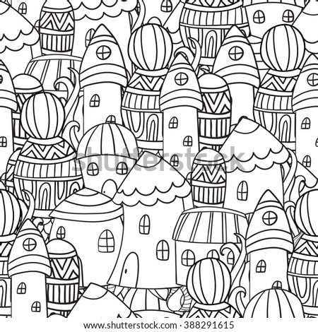 Magic City. Street background. Ink pen. Zentangle. Black and white seamless pattern in vector. Coloring book for adults. Coloring pages. - stock vector