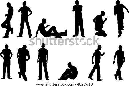 12 Male Poses - sitting and standing  (vector format) - stock vector