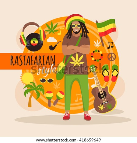 Male rastafarian character pack with stylish accessory and objects vector illustration - stock vector