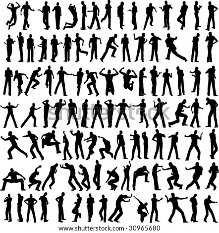 100 man vector different pose isolated on white - stock vector