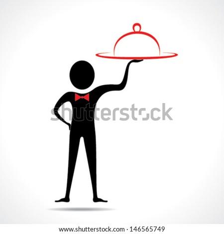 man with platter stock vector - stock vector