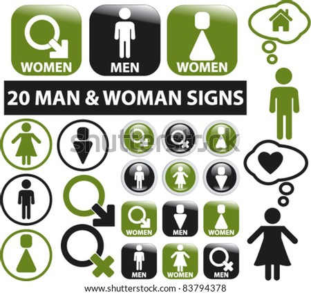 20 man & woman signs, buttons, icons, vector - stock vector