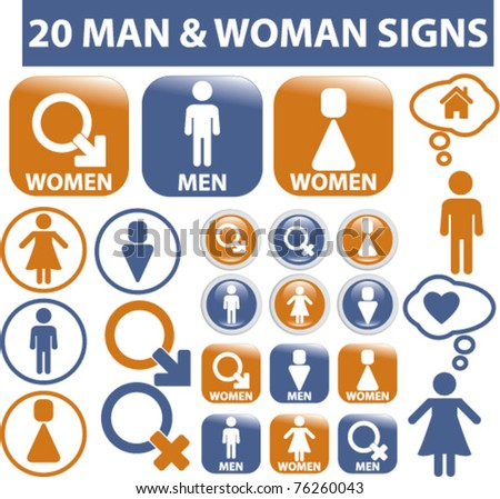 20 man & woman signs, icons, vector illustrations - stock vector