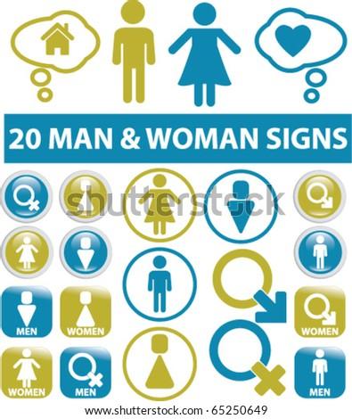 20 man & woman signs. vector - stock vector
