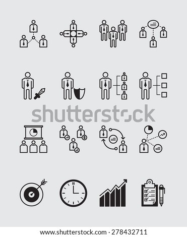 16 Manage icons black - stock vector